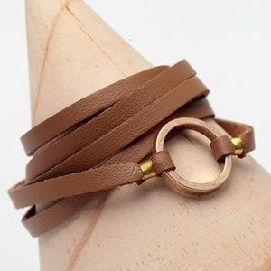 Fall 20 Leather Wrap Bracelet Brown/Burnished Gold